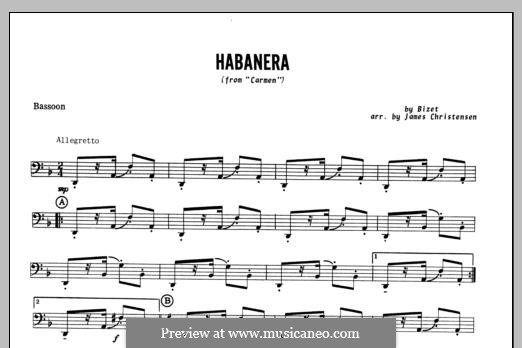 Habanera (Chamber Arrangements): For winds – Bassoon part by Georges Bizet