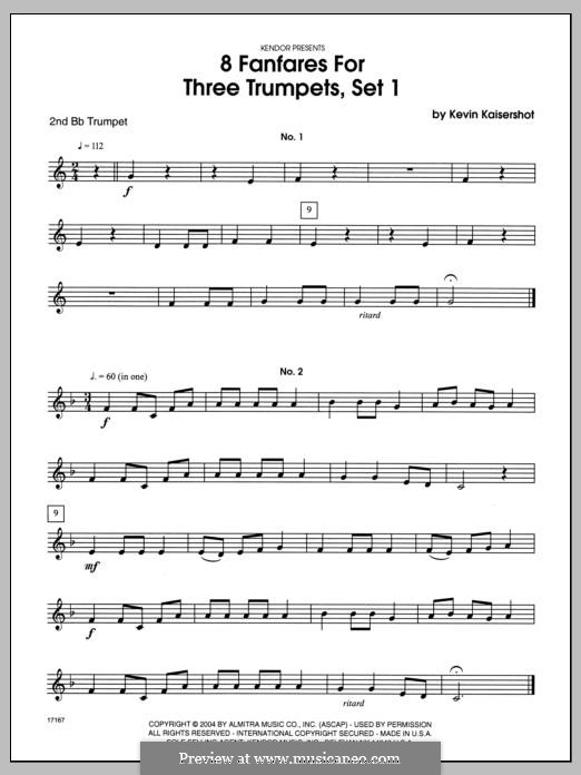 8 Fanfares for Three Trumpets, Set 1: 2nd Bb Trumpet part by Kevin Kaisershot