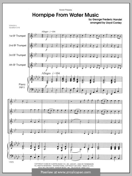 Suite No.2 in D Major, HWV 349: Alla Hornpipe, for four trumpets – full score by Georg Friedrich Händel