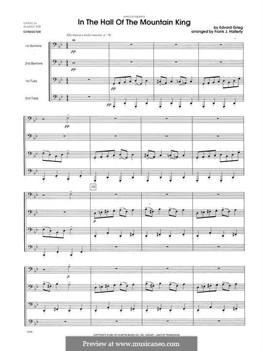 Suite No.1. In the Hall of the Mountain King (Printable Scores), Op.46 No.4: For winds - full score by Edvard Grieg