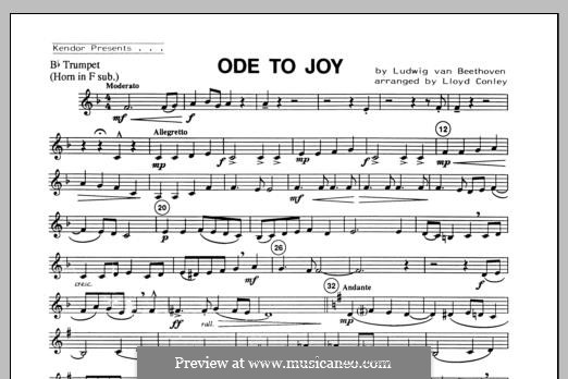 Ode To Joy (Chamber Arrangements): For winds – Bb Trumpet (Horn in F sub.) part by Ludwig van Beethoven
