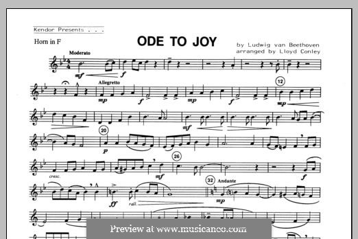 Ode To Joy (Chamber Arrangements): For winds – Horn in F part by Ludwig van Beethoven