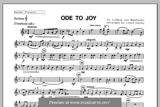 Ode To Joy (Chamber Arrangements): For winds – Baritone T.C./Trombone part by Ludwig van Beethoven