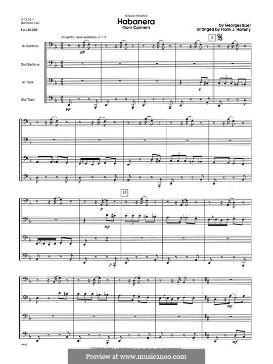 Habanera (Chamber Arrangements): For brass quartet - full score by Georges Bizet