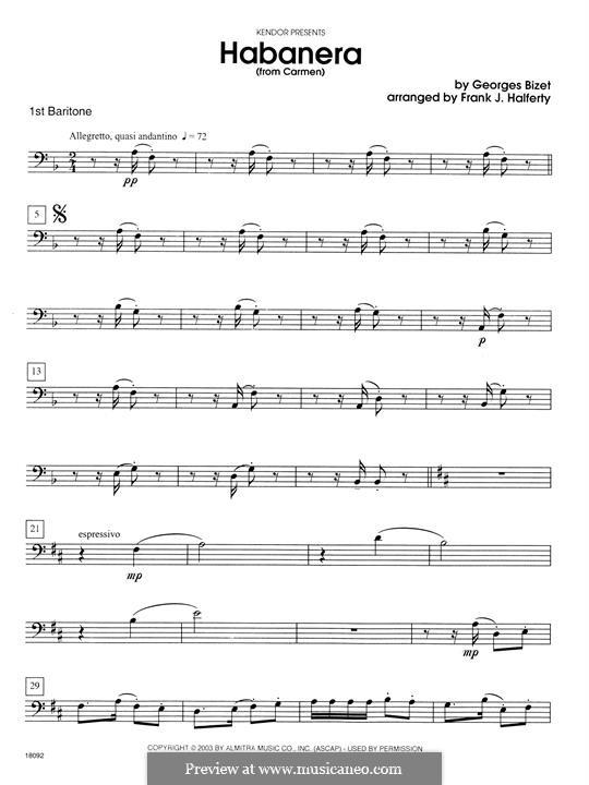 Habanera (Chamber Arrangements): For brass quartet - 1st Baritone B.C. part by Georges Bizet