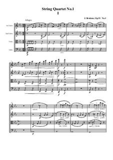 String Quartet No.1 in C Minor, Op.51: Movement I by Johannes Brahms