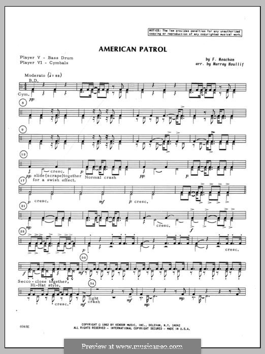 American Patrol, Op.92: Percussion 5 & 6 part by Frank W. Meacham