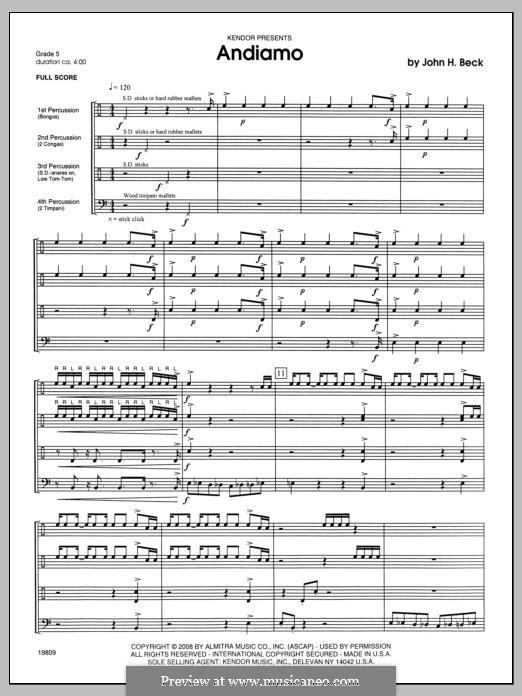 Andiamo: Full Score by John H. Beck