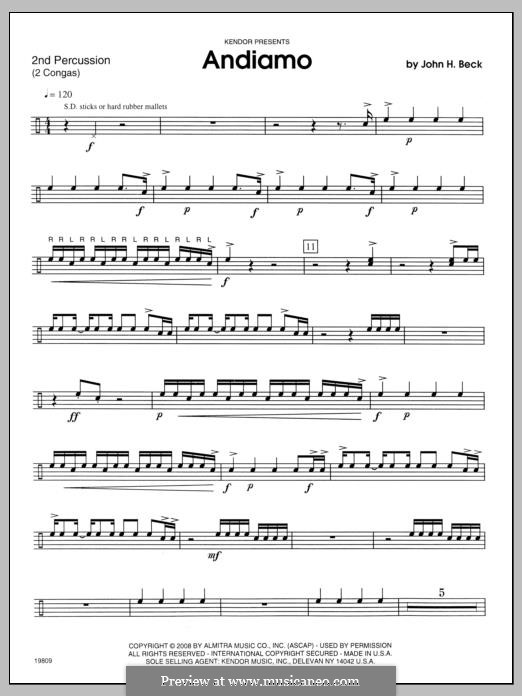 Andiamo: Percussion 2 part by John H. Beck