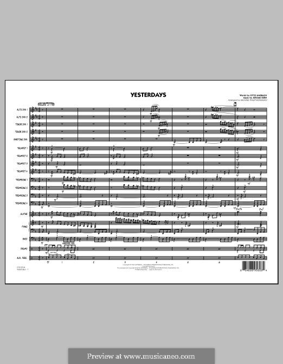 Yesterdays (arr. Michael Philip Mossman): Full Score by Jerome Kern
