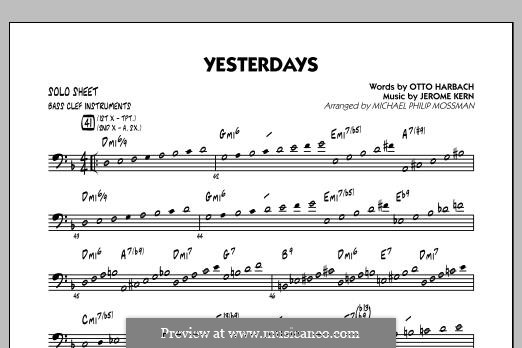 Yesterdays (arr. Michael Philip Mossman): Bass Clef Solo Sheet part by Jerome Kern
