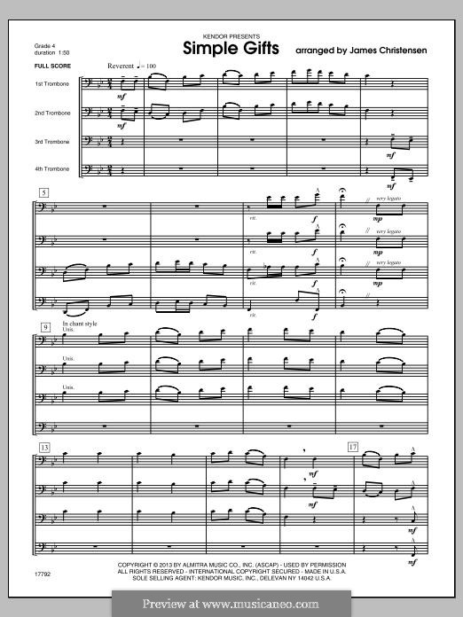 Simple Gifts (Chamber Arrangements): For trombones – full score by folklore