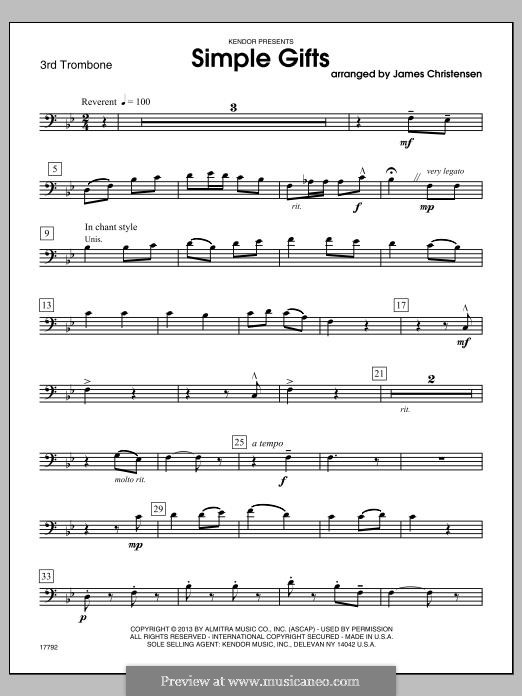 Simple Gifts (Chamber Arrangements): For trombones – 3rd Trombone part by folklore