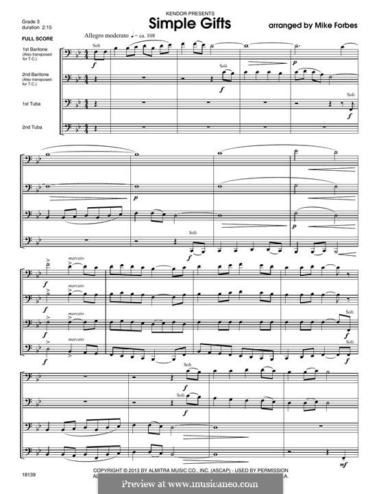 Simple Gifts (Chamber Arrangements): For winds – full score by folklore
