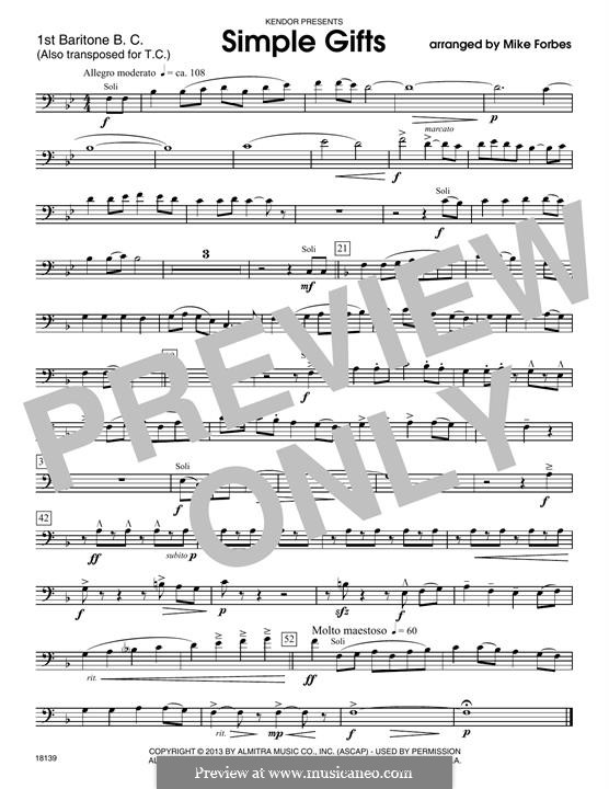 Simple Gifts (Chamber Arrangements): For winds – 1st Baritone B.C. part by folklore