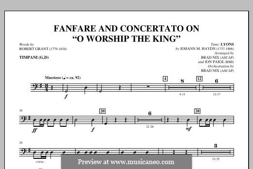 Fanfare and Concertato on 'O Worship the King': Timpani part by Michael Haydn
