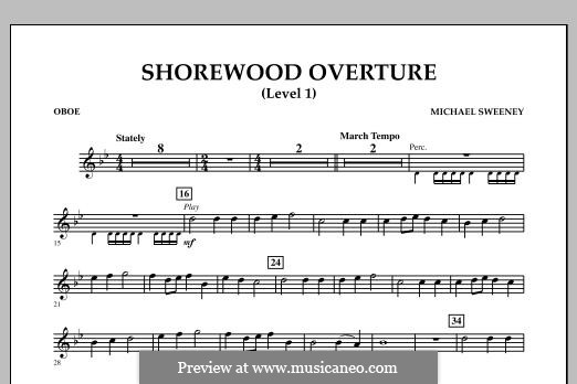Shorewood Overture (for Multi-level Combined Bands) Level 1: Oboe part by Michael Sweeney