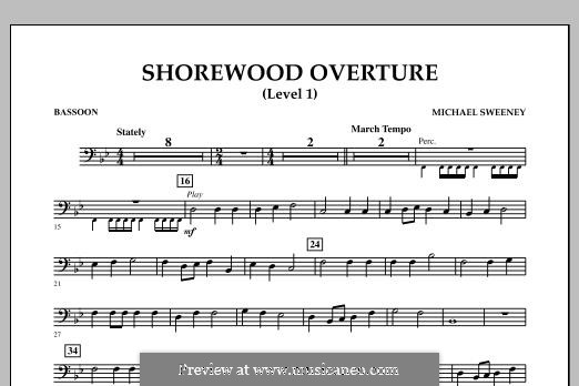 Shorewood Overture (for Multi-level Combined Bands) Level 1: Bassoon part by Michael Sweeney