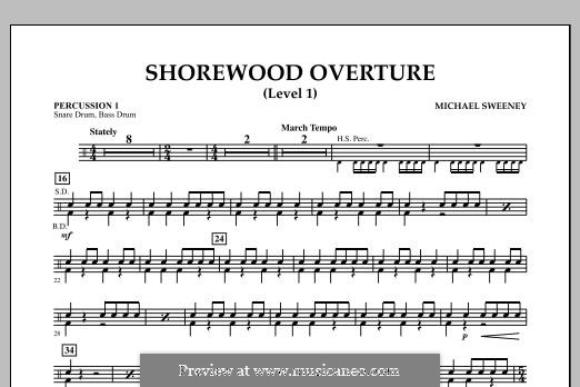 Shorewood Overture (for Multi-level Combined Bands) Level 1: Percussion 1 part by Michael Sweeney