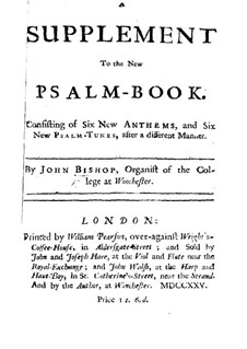 A Set of New Psalm Tunes: Supplement by John Bishop