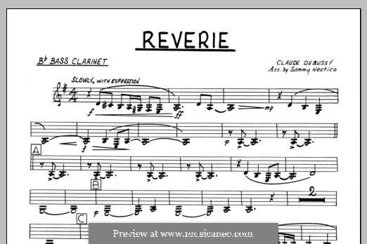 Reverie, for Orchestra, L.68: Bb Bass Clarinet part by Claude Debussy