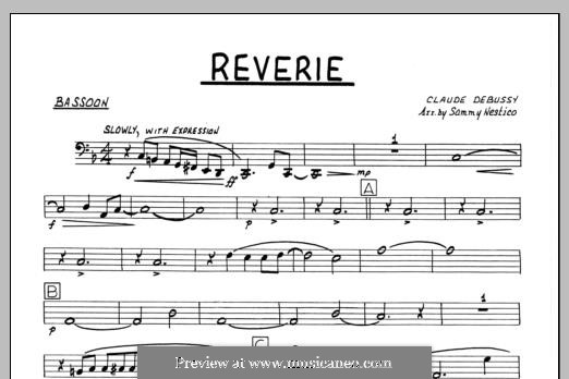 Reverie, for Orchestra, L.68: Bassoon part by Claude Debussy