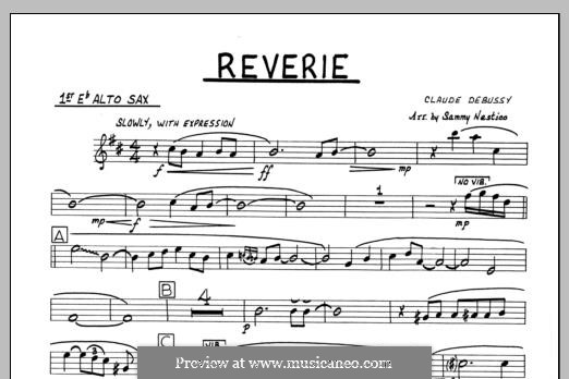 Reverie, for Orchestra, L.68: 1st Eb Alto Saxophone part by Claude Debussy