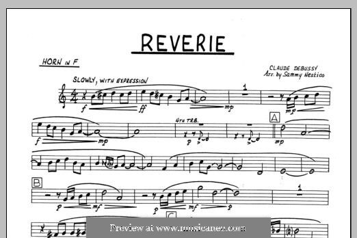 Reverie, for Orchestra, L.68: Horn in F part by Claude Debussy