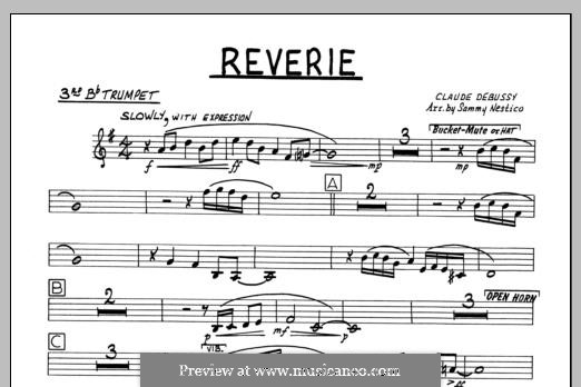 Reverie, for Orchestra, L.68: 3rd Bb Trumpet part by Claude Debussy
