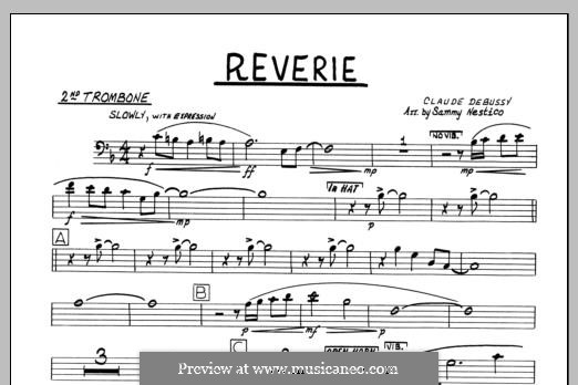 Reverie, for Orchestra, L.68: 2nd Trombone part by Claude Debussy