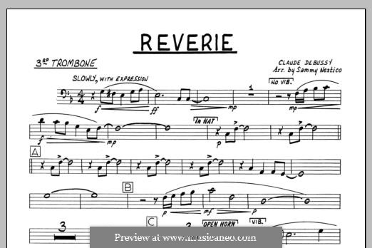 Reverie, for Orchestra, L.68: 3rd Trombone part by Claude Debussy