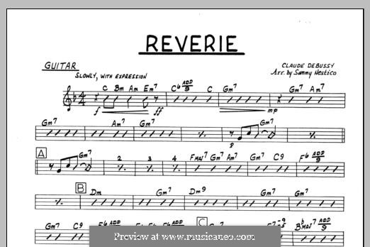 Reverie, for Orchestra, L.68: Guitar part by Claude Debussy