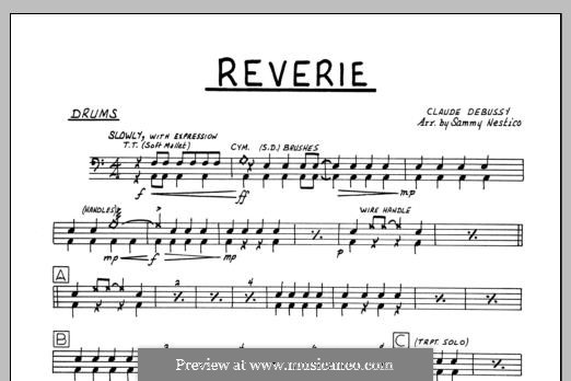 Reverie, for Orchestra, L.68: Drums part by Claude Debussy