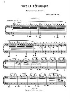 Vive la République. Concert Paraphrase: For piano four hands – parts by Claude Melnotte