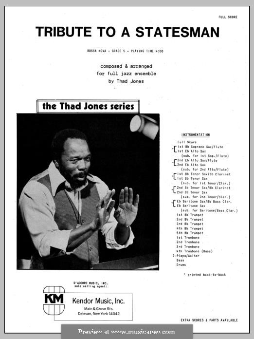 Tribute to a Statesman: Full Score by Thad Jones