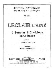Six Sonatas for Two Violins: Sonatas No.4-6 – violin II part by Jean-Marie Leclair