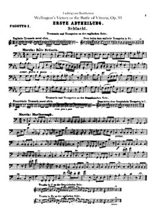 Wellington's Victory, or the Battle of Vitoria, Op.91: Bassoons I, II parts by Ludwig van Beethoven