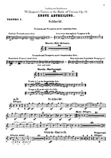 Wellington's Victory, or the Battle of Vitoria, Op.91: Trumpets I, II parts by Ludwig van Beethoven