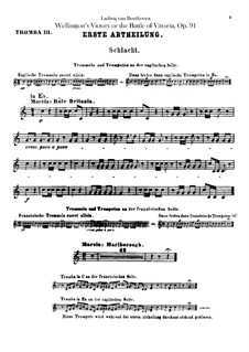 Wellington's Victory, or the Battle of Vitoria, Op.91: Trumpets III, IV parts by Ludwig van Beethoven