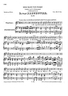 Der Mann vom Wort (The Man of His Word), Op.99: Piano score with vocal part by Ludwig van Beethoven