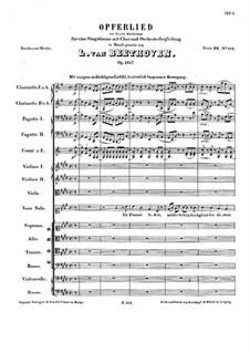 Sacrificial Song, Op.121b: Sacrificial Song by Ludwig van Beethoven