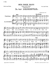 Der freie Mann (The Free Man), WoO 117: Piano score with vocal part by Ludwig van Beethoven