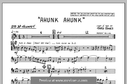 Ahunk Ahunk: 2nd Bb Trumpet part by Thad Jones