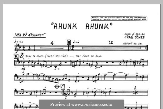Ahunk Ahunk: 3rd Bb Trumpet part by Thad Jones