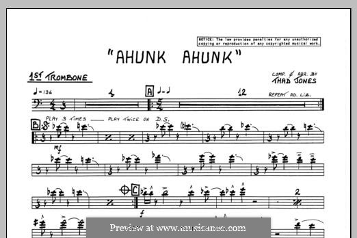 Ahunk Ahunk: 1st Trombone part by Thad Jones