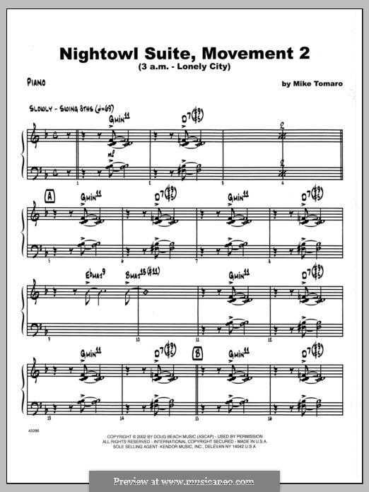 Nightowl Suite, Mvt. 2 (3 a.m. - Lonely City): Piano part by Mike Tomaro