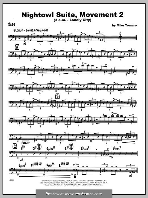 Nightowl Suite, Mvt. 2 (3 a.m. - Lonely City): Bass part by Mike Tomaro