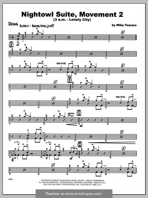 Nightowl Suite, Mvt. 2 (3 a.m. - Lonely City): Drums part by Mike Tomaro