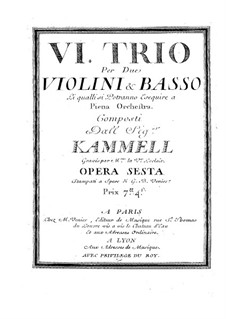 Six Sonatas for Two Violins and Basso Continuo, Op.6: Violin I part by Antonín Kammel