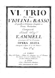 Six Sonatas for Two Violins and Basso Continuo, Op.6: Basso continuo part by Antonín Kammel